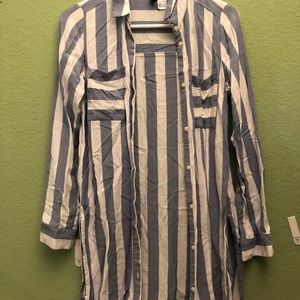 H&M Divided stripe button tunic size 4